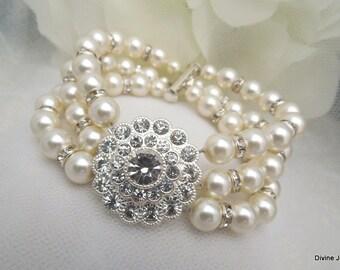 bridal pearl and rhinestone Bracelet, Statement Bridal Bracelet, Bridal Cuff, Wedding Rhinestone Bracelet, swarovski crystal cuff, SUMMER