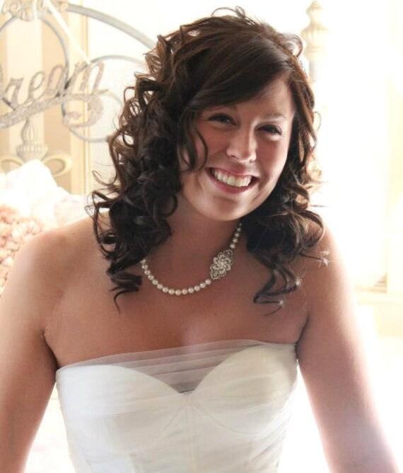 Bridal Necklace, Bridal Pearl Necklace, Swarovski Pearls, Rhinestone Necklace, Bridal Rhinestone Necklace, Bridal Statement Necklace, AMELIA