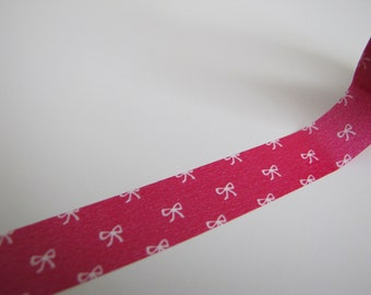 Washi Tape-Masking Tape-Single Roll-Bright Pink Bow Tape