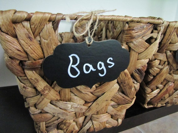 Chalkboard Label Tags-Home Organization-Home Decor-Set of 8 with chalk and twine