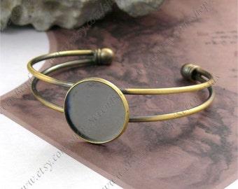 2pcs Antique Brass Adjustable Open Adjustable bracelet Base round pad size 20mm