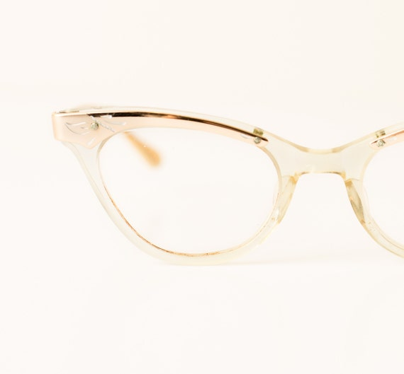 Vintage Cat Eye Glasses, Translucent Frame w/Etched Bronze Accents, Geek Chic