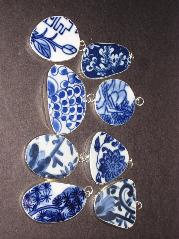 Lot of eight blue and white pottery shard pendants  Great deal, buy in bulk and save SALE