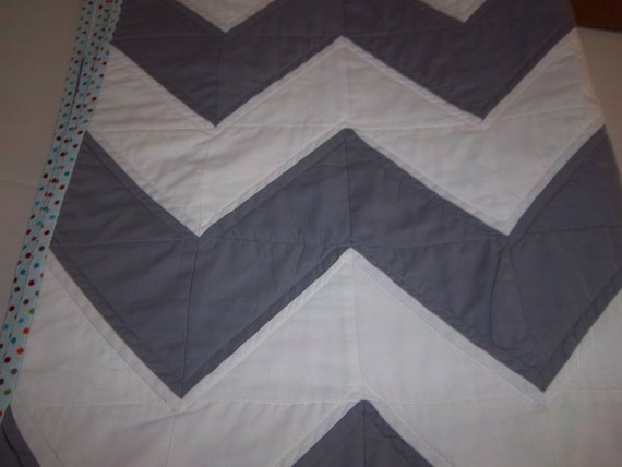 Modern Chevron Baby Boy or Girl Quilt in Gray and White by Dreamy Vintage Sheets on Etsy