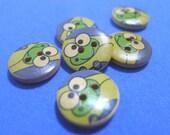 SALE - I02 Color Printed Wooden Buttons (15 mm) - Set of 6 - Keroppi the Frog