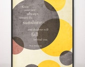 8x10 Keep Your Face Always Toward the Sunshine Walt Whitman Art Print Circles