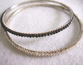 FREE SHIPPING --- Pyrite & Silver Seed Bead Wire Wrapped Bangle Bracelet