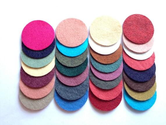 Wool Felt Circles 30 - 1 1/2 inch Random Colored. 1351