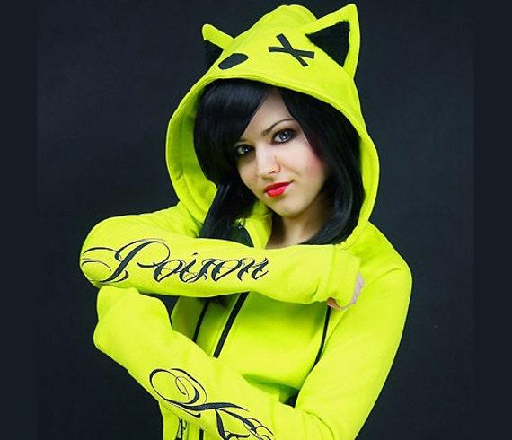 Neon cat hoodie ears poison toxic kawaii cyber goth punk