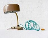 30% SALE - Vintage Industrial Desk Lamp - Mid Century Hood Light w Aqua Net Color Cord OOAK