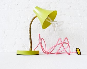 15% SALE - Retro Vintage Gooseneck Desk Table Lamp - Kiwi Colored with Plumen Bulb and Neon Pink Net Color Cord OOAK