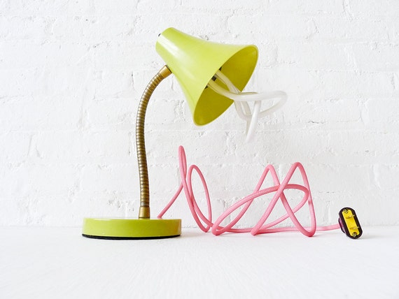 15% SALE - Retro Vintage Gooseneck Desk Table Lamp - Kiwi Colored with Plumen Bulb and Neon Pink Net Color Cord OOAK