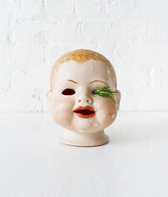 10% SALE - Awkward Creepy Baby Air Head Garden - Vintage Doll Air Plant