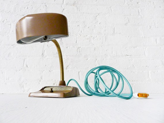 30% SALE - Vintage Industrial Desk Lamp - Mid Century Hood Light w Aqua Net Color Cord OOAK