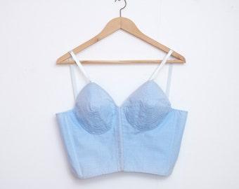 1950 blue bullet bra long line bra bombshell dead stock Vintage