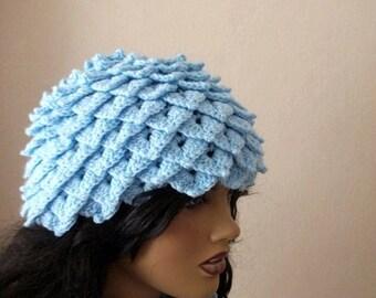 Crocodile Stitch Blue Hat