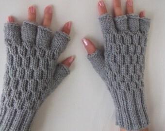 Light Gray  Half Finger Gloves-thick yarn