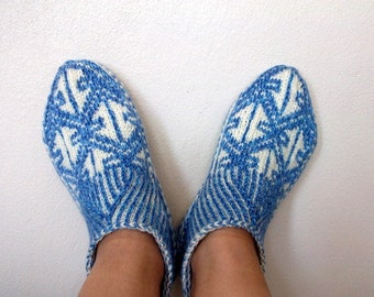 Blue Home Slippers-Hand knit women house slipper-Traditional Turkish Design-Adult size