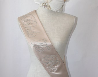 Bride To Be- Bachelorette Sash - Vintage Beige