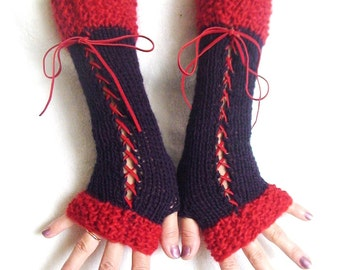 Fingerless Gloves Long Corset Wrist Warmers in Dark Violet and Red with Suede Ribbons Victorian Style