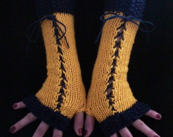 Fingerless Corset Gloves Wrist Arm Warmers in Yellow Dark Blue with Suede Ribbons