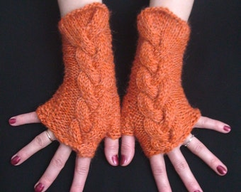 Fingerless Gloves Orange/ Pumpkin Cabled Wrist Warmers Warm and Soft