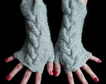 Fingerless Gloves Grey Cabled Wrist Warmers Warm and Soft