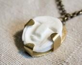 Tribal choker necklace Inuit inspired mask in white resine