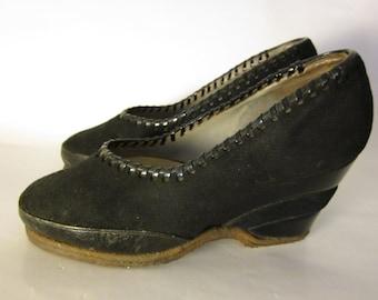 French vtg 1940 black plateform shoes Size 3,5 UK / 36 FR/ 5 US