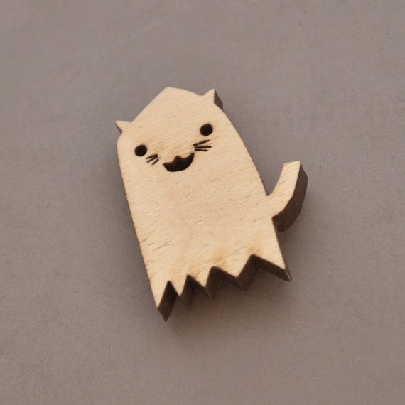 Brooch Pin Ghost Kitty cut from birchwood for halloween