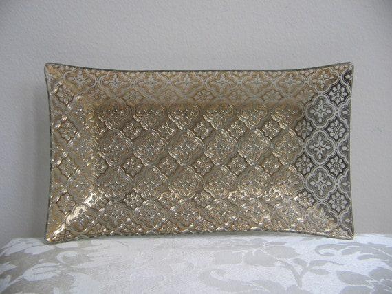 Vintage George Briard 24K Gold  Bent Glass Tray, Mid Century Mad Men, Moroccan Medallion