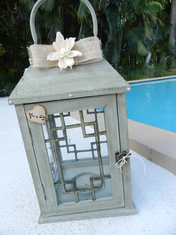 SPECIAL Listing for Krystle......Shabby Chic Wedding Card Holder Lantern