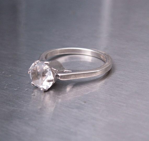 Vintage UNCAS Ring Sterling Silver CZ Cubic Zirconia Solitaire Tiffany Brilliant