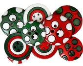 Christmas Buttons Jesse James Embellishments Colors of Christmas Xmas Winterfest Sewing Scrapbooking Embellishment Collage Crafts