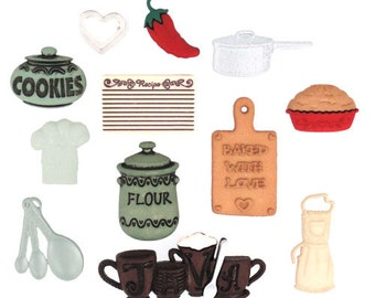 Jesse James Button Embellishments Themed Novelty Buttons In The Kitchen Cooking Food Gourmet Chef Baking