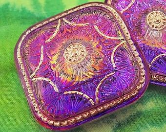 Czech Glass Button Purple Jubilee Large Square 33mm Shank Gorgeous