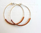 Hoop Earrings Sterling Silver Earrings Bronze Beaded Jewelry Beaded Hoop Earrings