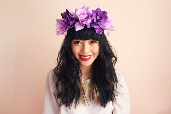 floral crown headband hair wreath - purple mix, romantic statement headpiece, large flower crown, oversized.