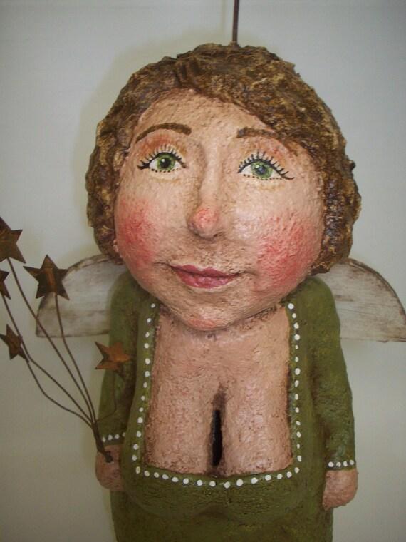 RESERVED Primitive Paper Mache Folk Art Doll Angel Bank