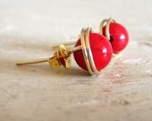Coral Gold Post Earrings - Wire Wrapped Studs - Candy Apple Red