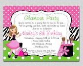 Glamour Girl Birthday Invitation Glamour Girl Birthday Party Invitation Spa Invitation Printable