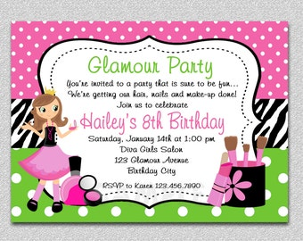 Glamour Girl Birthday Invitation Glamour Girl Birthday Party Invitation Spa Invitation Printable