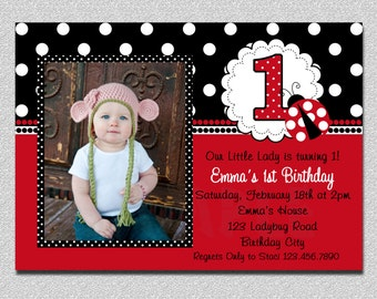 Ladybug Birthday Invitation Ladybug 1st Birthday Party Invitations Printable