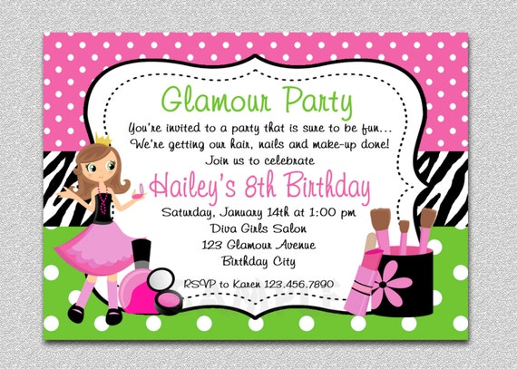 Glamour Girl Birthday Invitation Glamour Girl Birthday Party – Printable Spa Party Invitations