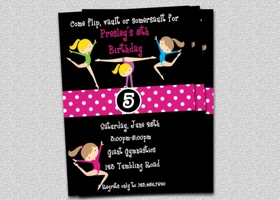 "Gymnastics Birthday Invitation Gymnastics Birthday Party Invitations Printable ""Original Design"""