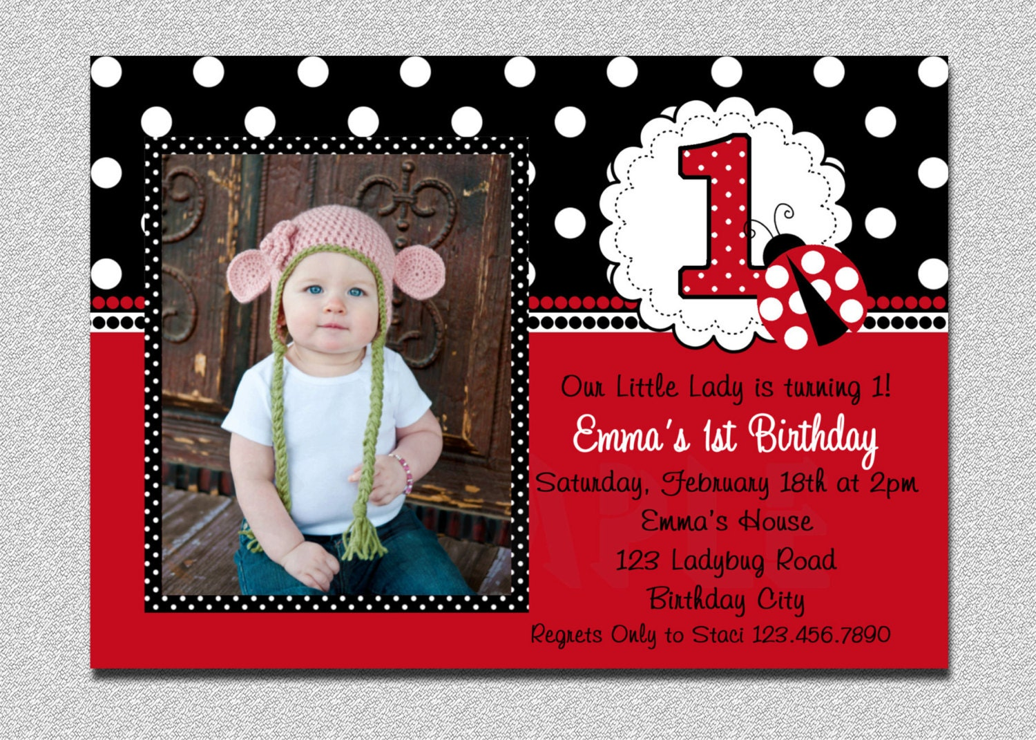 Ladybug Birthday Invitation Ladybug 1st Birthday Party Red – Ladybug Invitations 1st Birthday