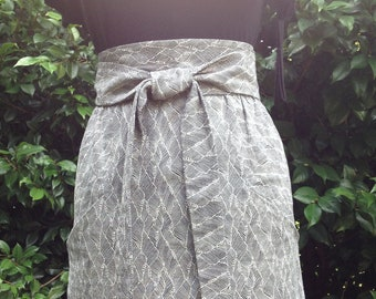 Free Ship Size 4 Eco Solid Print High Waist Skirt A line Pencil Knee Mini Skirt Tie Belt Waistband & Pockets in Hemp Organic Cotton