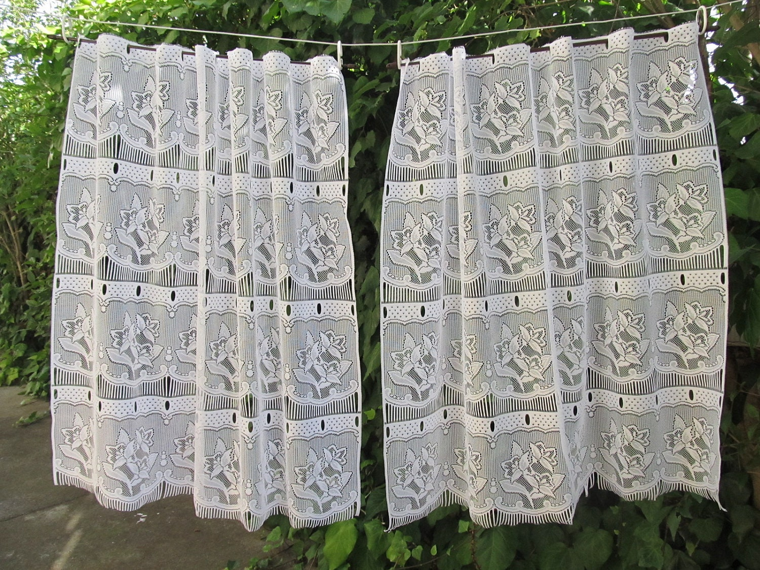 vintage cafe curtain french panels lace by HatchedinFrance on Etsy