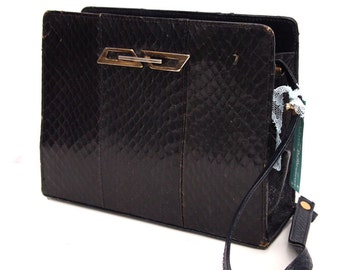 Serpentine, French Vintage, Black Leather Snakeskin, 1950s, Mad Men Style, Handbag from Paris