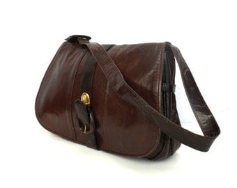 Agathe, French Vintage, Chocolate Brown Leather Satchel, 1970s Handbag from Paris